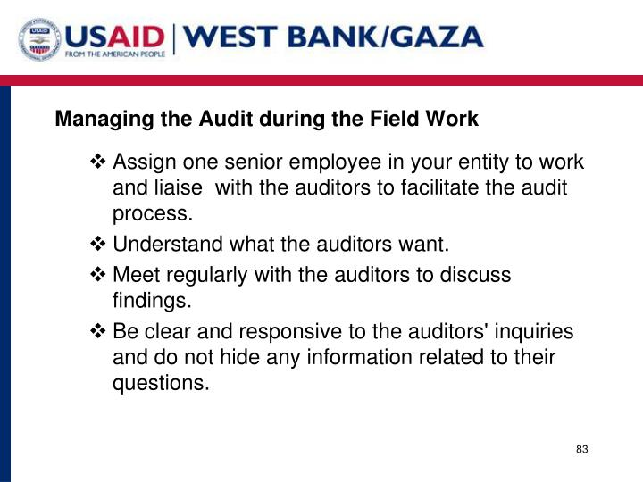 Managing the Audit during the Field Work