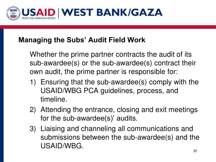 Managing the Subs' Audit Field Work