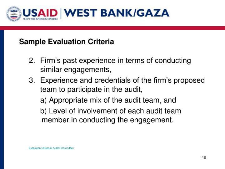 Sample Evaluation Criteria