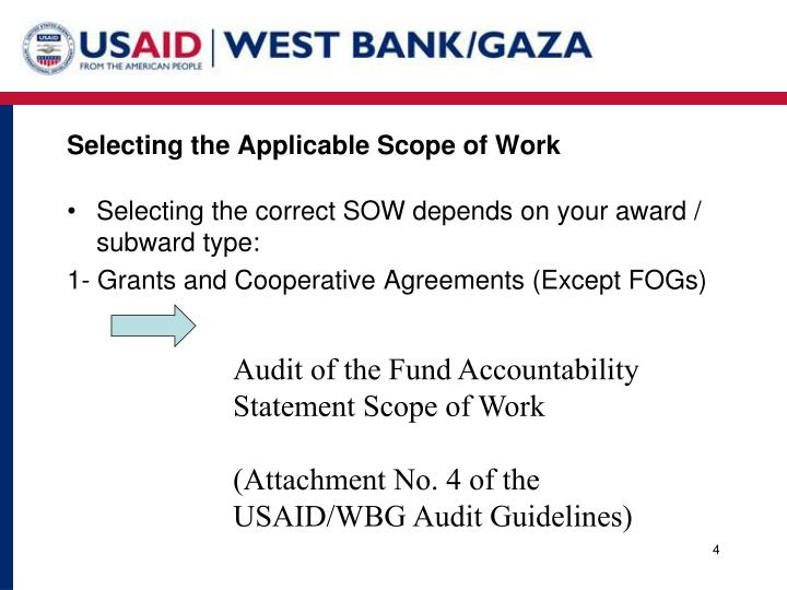 Selecting the Applicable Scope of Work