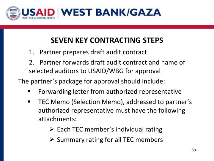 SEVEN KEY CONTRACTING STEPS