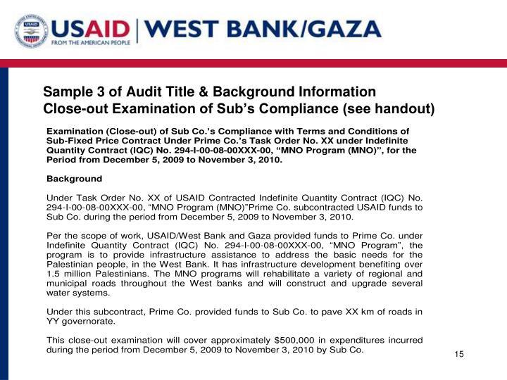 Sample 3 of Audit Title & Background Information