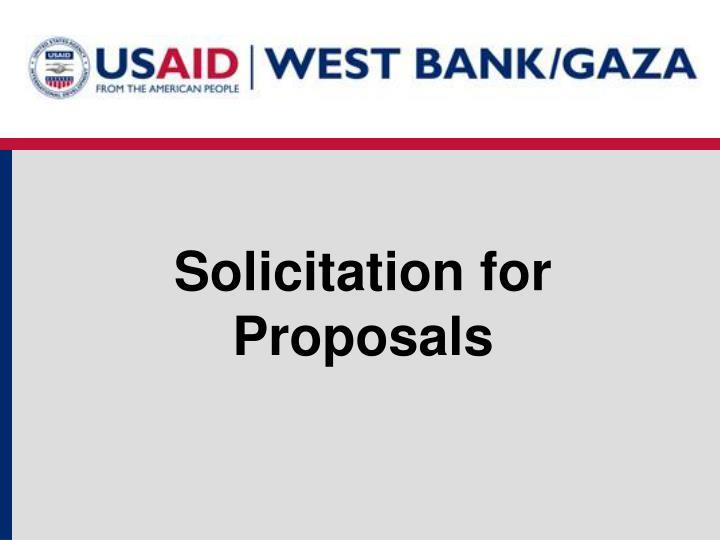 Solicitation for Proposals