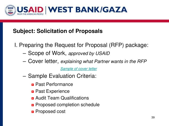 Subject: Solicitation of Proposals