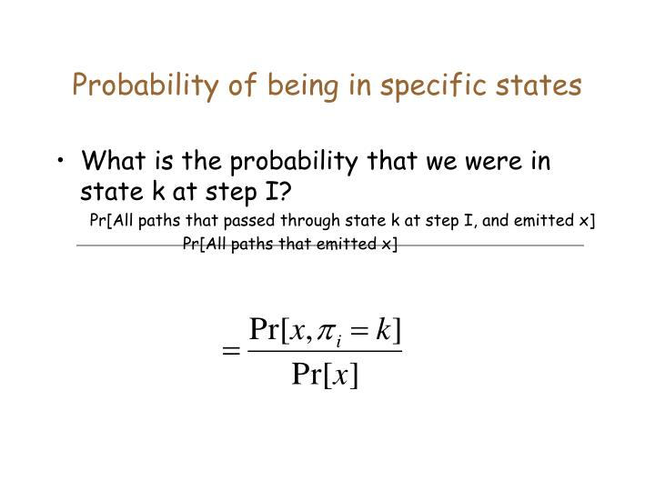 Probability of being in specific states