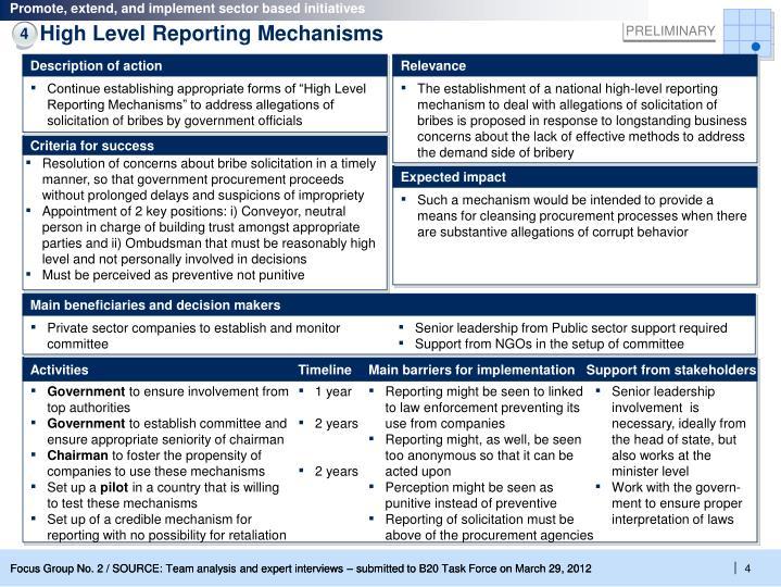 High Level Reporting Mechanisms