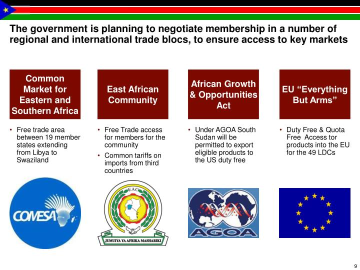 The government is planning to negotiate membership in a number of regional and international trade blocs, to ensure access to key markets