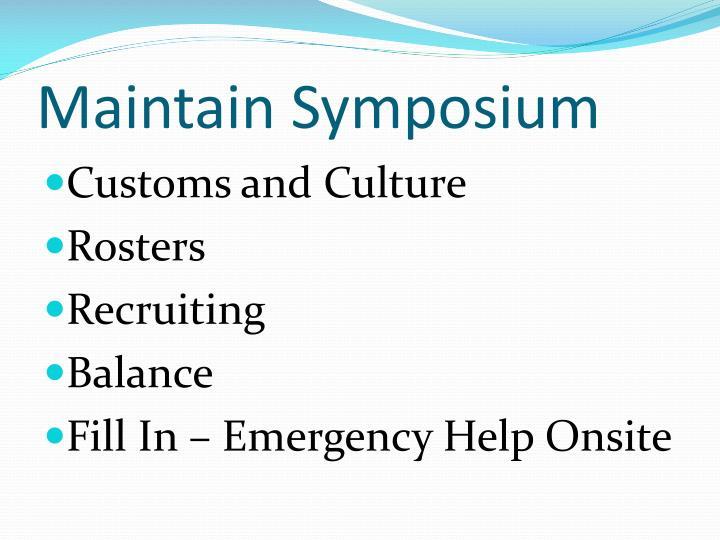 Maintain Symposium