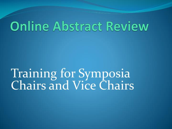 Online Abstract Review