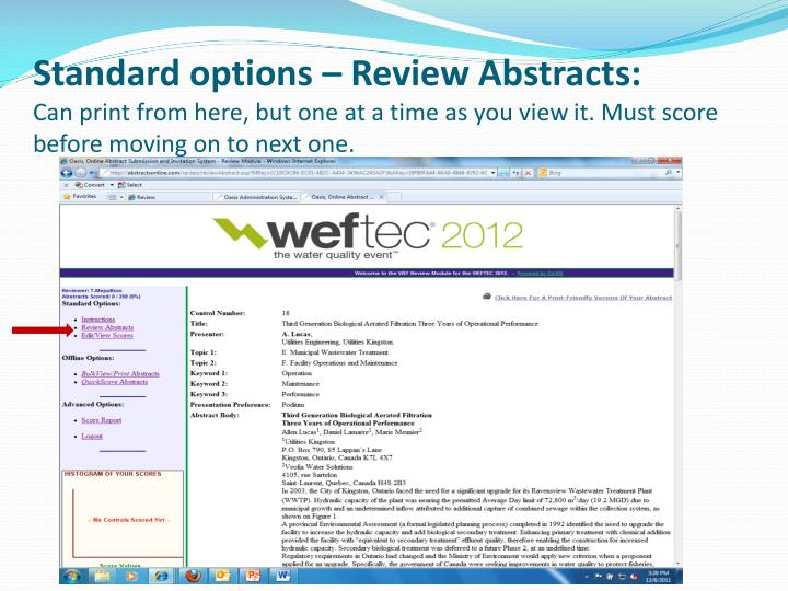 Standard options – Review Abstracts: