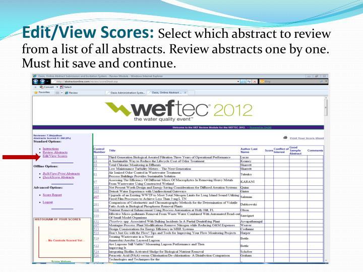 Edit/View Scores: