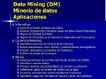 data mining dm miner a de datos aplicaciones