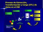 proceso de extracci n transformaci n y carga etl de datos en el dw