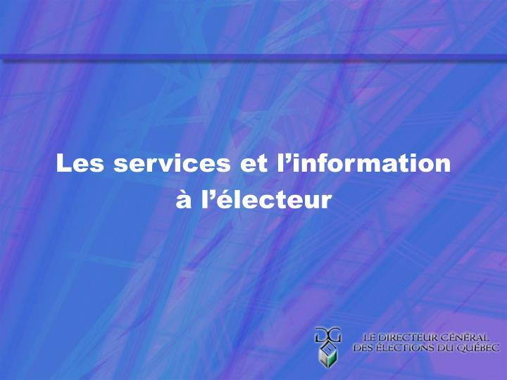 Les services et l'information
