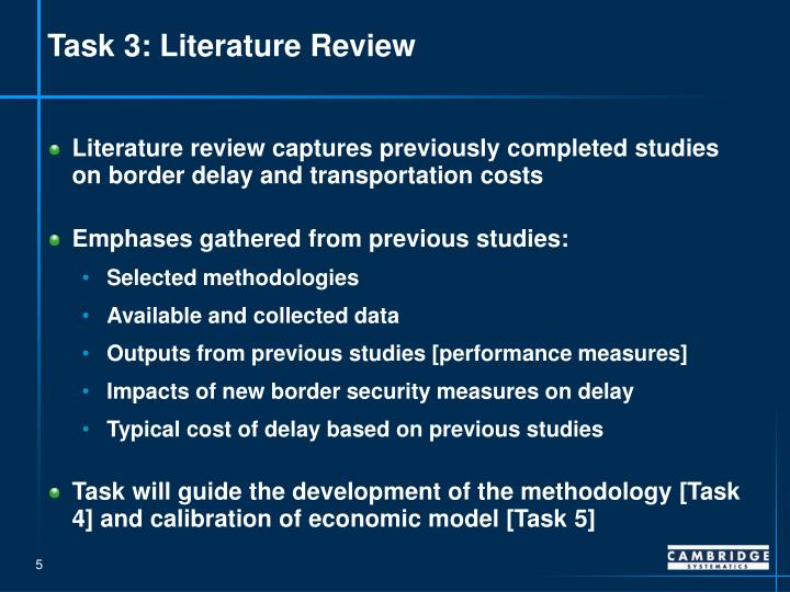 Task 3: Literature Review