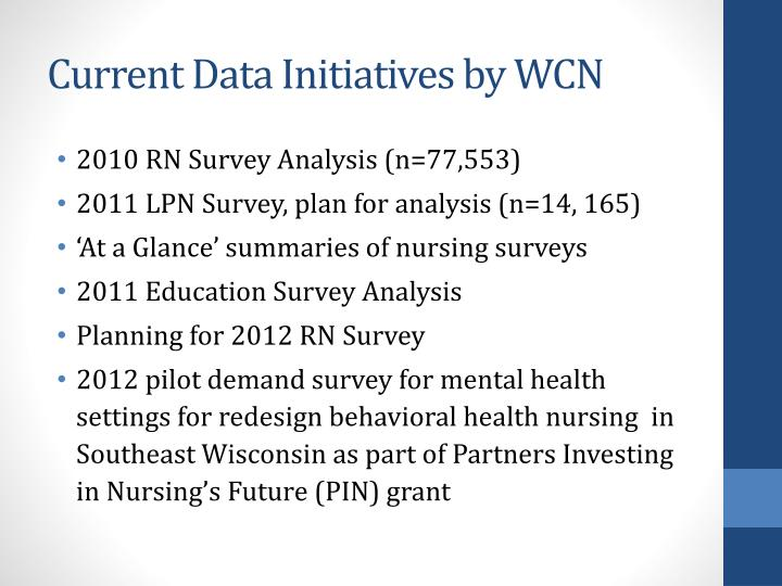 Current Data Initiatives by WCN