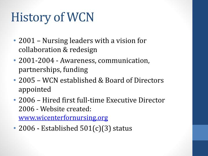 History of WCN