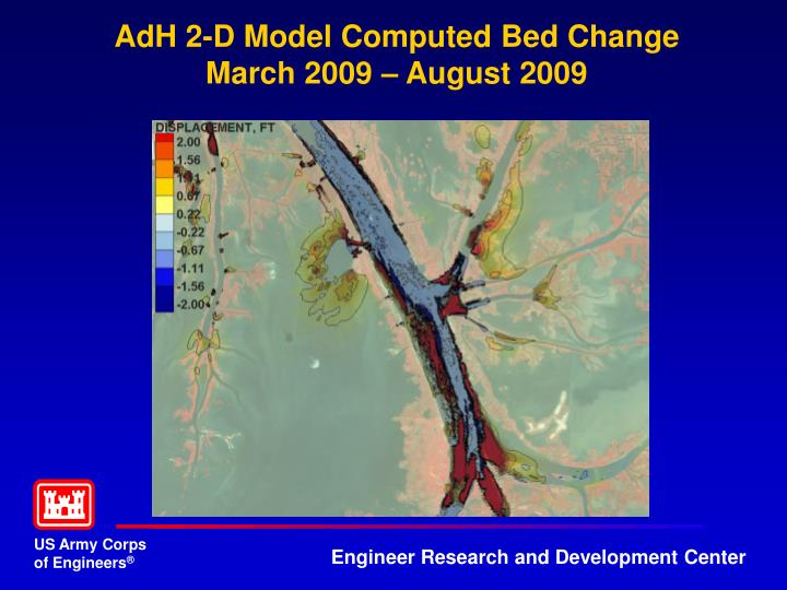 AdH 2-D Model Computed Bed Change