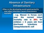 absence of sanitary infrastructure