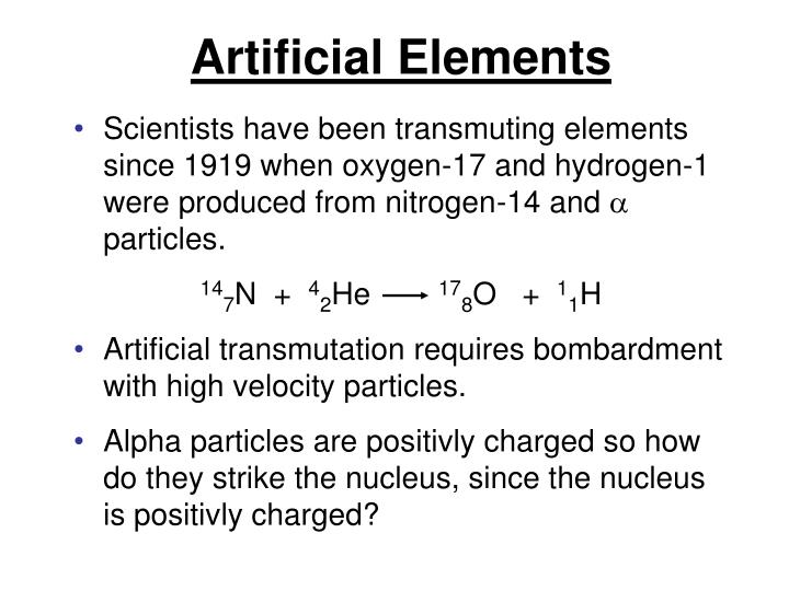 Artificial Elements