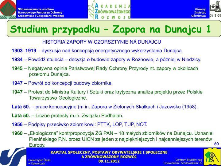 Studium przypadku – Zapora na Dunajcu 1