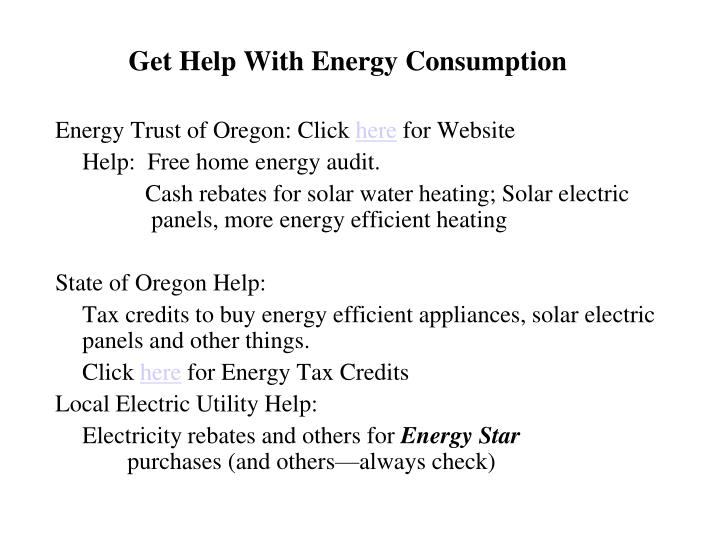 Get help with energy consumption