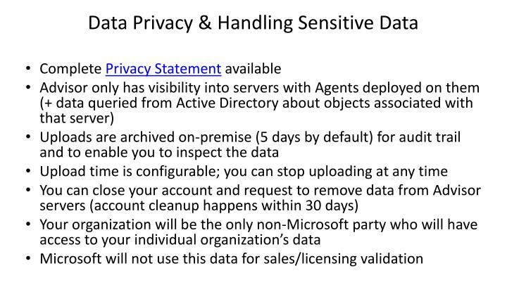 Data Privacy & Handling Sensitive Data