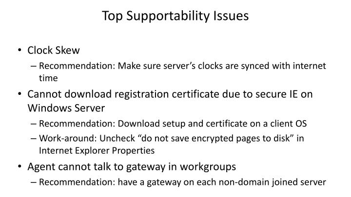 Top Supportability Issues