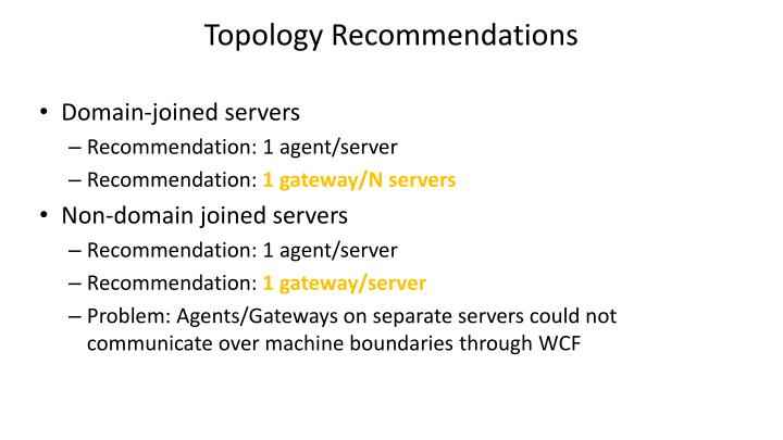 Topology Recommendations