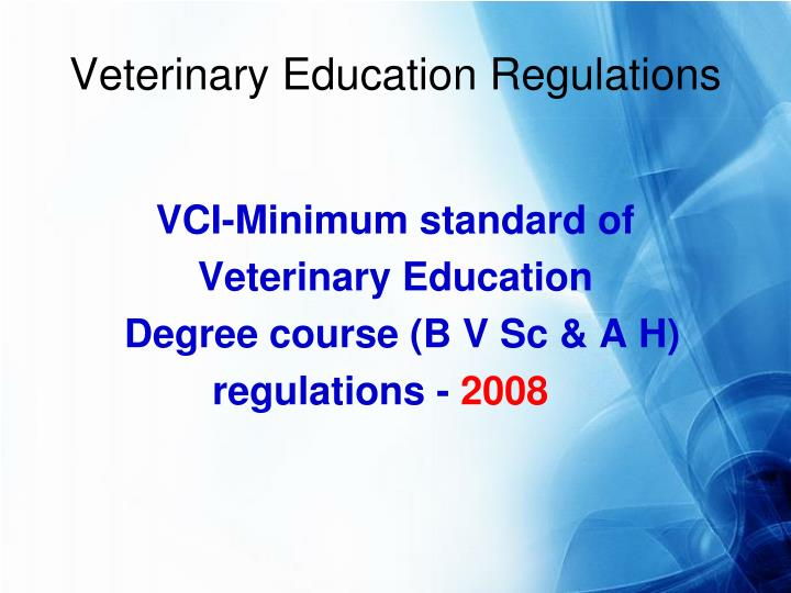 veterinary education regulations n.