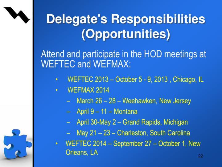 Delegate's Responsibilities