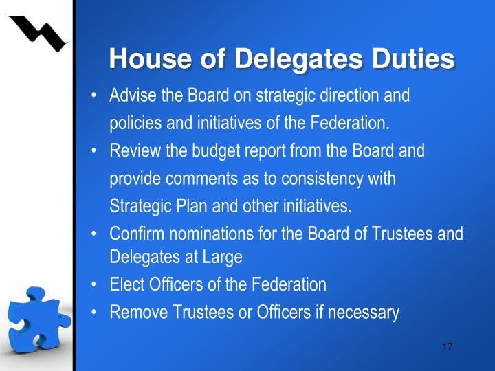 House of Delegates Duties