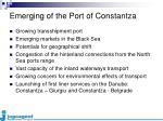 emerging of the port of constantza
