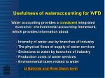 usefulness of wateraccounting for wfd