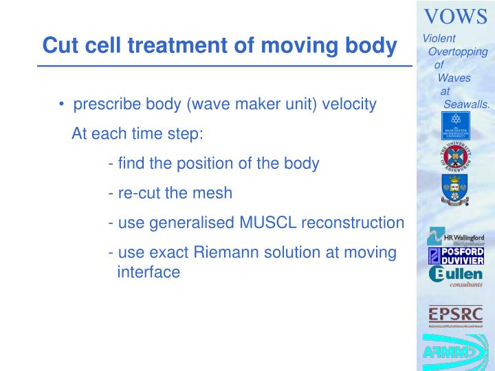 Cut cell treatment of moving body
