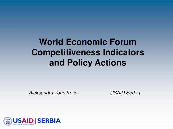 world economic forum competitiveness indicators and policy actions n.