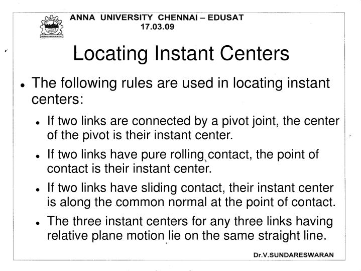 Locating Instant Centers
