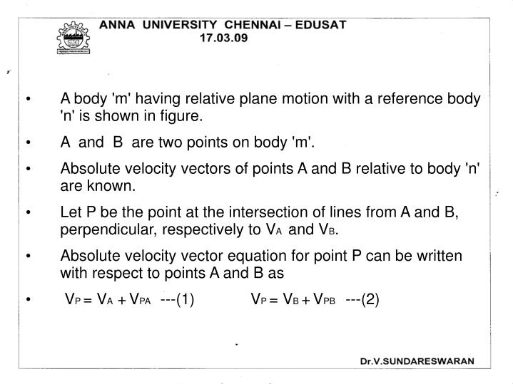A body 'm' having relative plane motion with a reference body       'n' is shown in figure.