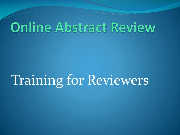 online abstract review n.