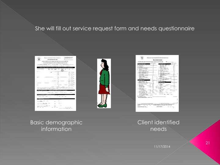 She will fill out service request form and needs questionnaire