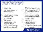 difference between resonance and keto enol tautomerism