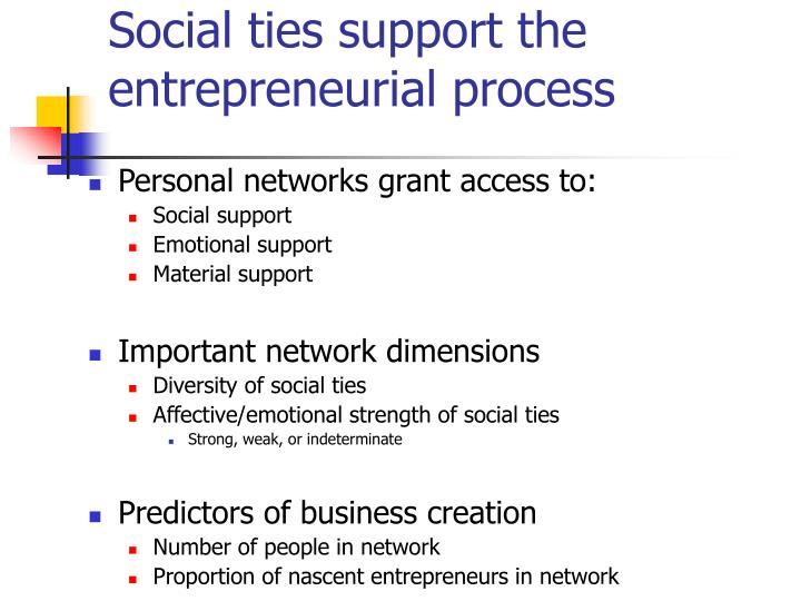 Social ties support the entrepreneurial process