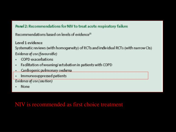 NIV is recommended as first choice treatment