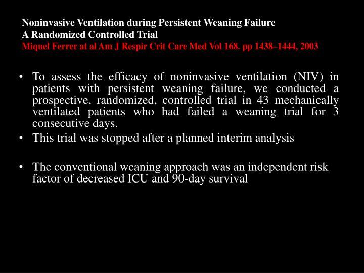 Noninvasive Ventilation during Persistent