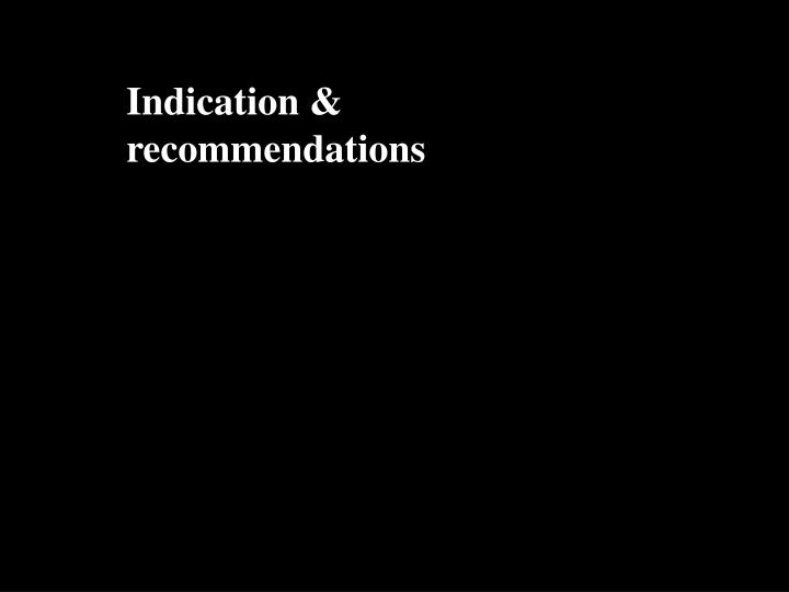 Indication & recommendations
