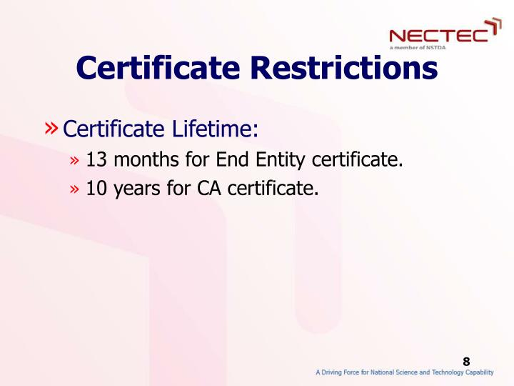 Certificate Restrictions