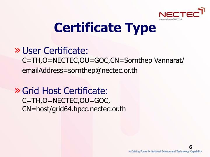 Certificate Type