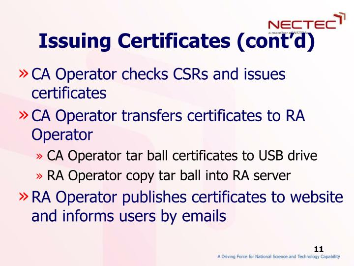 Issuing Certificates (cont'd)