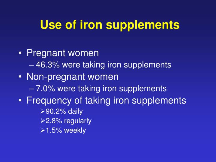 Use of iron supplements