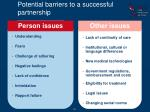 potential barriers to a successful partnership